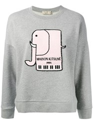 Maison Kitsune Elephant Motif Sweatshirt Women Cotton Xs Grey