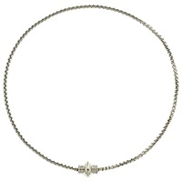 Finesse Rhodium Plated Crystal Magnetic Necklace Silver