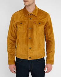 Levi's Tobacco Suede Trucker Jacket With Sherpa Lining Brown
