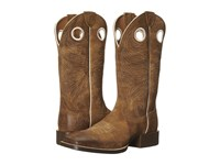 Ariat Sport Rider Wide Square Toe Antique Mocha Suede Cowboy Boots Brown
