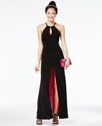 Sequin Hearts Juniors' Contrast Lined Halter Gown Black Pink