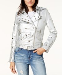 By Glamorous Studded Faux Leather Moto Jacket Created For Macy's Silver