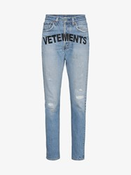 Vetements Logo Print Straight Jeans Blue