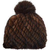 Barneys New York Women's Mink Knit Beanie Brown