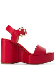 Clergerie Wedge Sandals Red