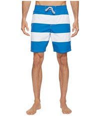 Lacoste Bold Stripe Long Length Sapphire Blue White Men's Swimwear