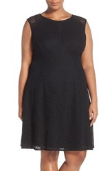 Plus Size Women's London Times 'Feather' Lace Fit And Flare Dress Black