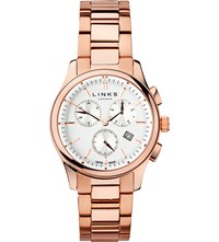 Links Of London 6020.1160 Regent Chronograph Rose Gold Black Dark Salmon Plated Stainless Steel Watch