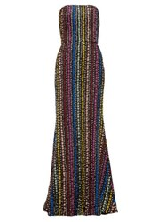 Mary Katrantzou Ava Flared Sequinned Gown Black Multi