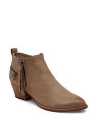 Dolce Vita Saylor 3 Zipper Leather Booties Taupe