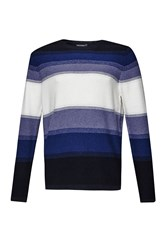 French Connection Men's Fenite Stripe Ombre Knitted Jumper Blue