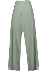 Maison Martin Margiela Mm6 Felt Trimmed Wool Wide Leg Pants Gray Green