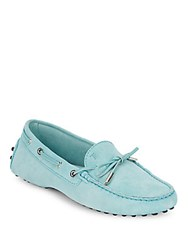 Tod's Leather Pebble Sole Loafers Teal