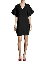 Saks Fifth Avenue V Neck Ruffle Dress Ebony