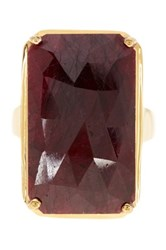 Olivia Leone 14K Yellow Gold Plated Sterling Silver Dyed Ruby Ring Red