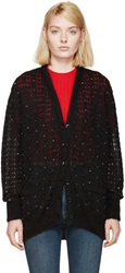 Saint Laurent Black Beaded Mohair Cardigan