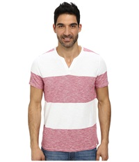 Dkny Short Sleeve Solid Feeder Stripe V Neck Henley Faded Red Men's Clothing Pink
