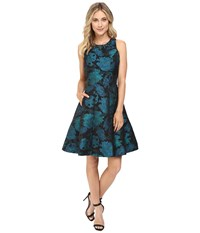Maggy London Autumn Rose Jacquard Fit And Flare Emerald Black Women's Dress Green