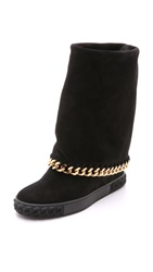 Casadei Chain Fold Over Boots Black
