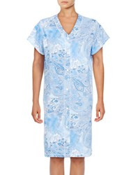 Miss Elaine Short Sleeve Floral Print Nightgown Blue
