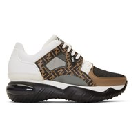 White And Brown 'Forever Fendi' Chunky Sneakers