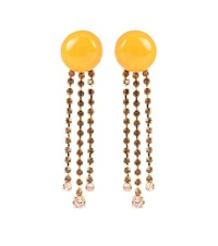 Marni Crystal Embellished Clip On Earrings Yellow