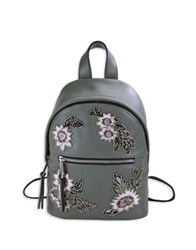 French Connection Beaded Floral Mini Backpack Smokey