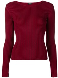 Joseph Ribbed Long Sleeve Top Red