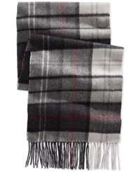 Club Room Plaid Cashmere Scarf Only At Macy's Grey Burgundy