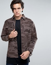 Brave Soul Camo Shacket Jacket Green