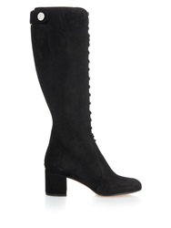 Gianvito Rossi Lace Up Suede Block Heel Knee Boot