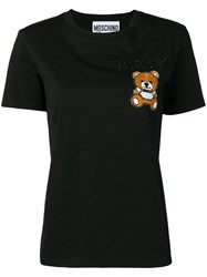 Moschino Bear Embroidered T Shirt Black