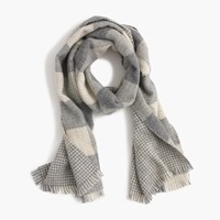 J.Crew Reversible Buffalo Check Houndstooth Wool Scarf Graphite Ivory
