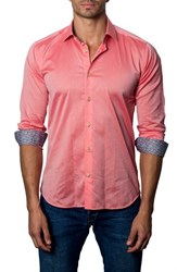 Jared Lang Trim Fit Sport Shirt Red Pastel