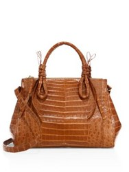 Nancy Gonzalez Large Double Tie Knot Crocodile Tote Cognac