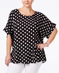 Ing Plus Size Dolman Sleeve Printed Top Black And White