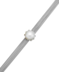 Macy's Cultured Freshwater Mabe Pearl And Mesh Chain Bracelet In Sterling Silver 16Mm