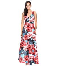 Adrianna Papell Printed Jacquard Halter Deep V Neck Ball Gown Coral Multi Women's Dress