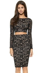 David Lerner Lace Long Sleeve Crop Top Black