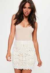 Missguided White Crochet Lace Lined Mini Skirt