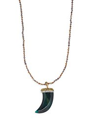 Cara Beaded Horn Pendant Necklace Bronze