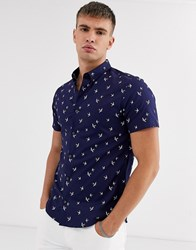 Burton Menswear Shirt In Navy With Bird Print