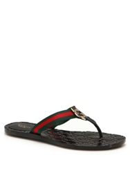 Gucci Gg Thong Flats Brown Multi Black Multi