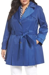 Via Spiga Plus Size Women's 'Scarpa' Single Breasted Trench Coat Peri Blue
