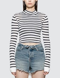 Alexander Wang.T Cropped Slub Mock Neck T Shirt Black