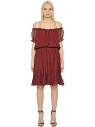 Designers Remix Off Shoulder Sheer Silk Ruffle Dress
