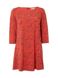 White Stuff Linear Floral Jersey Tunic Red