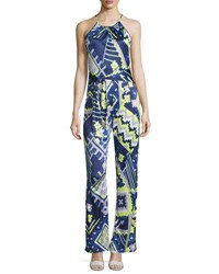 Alice And Trixie Audrey Printed Sleeveless Jumpsuit Navy