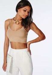 Missguided Jersey Crop Top Taupe Grey