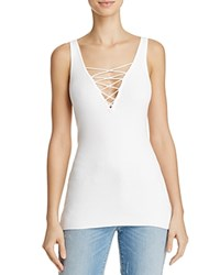 Minnie Rose Lace Up Tank Top White